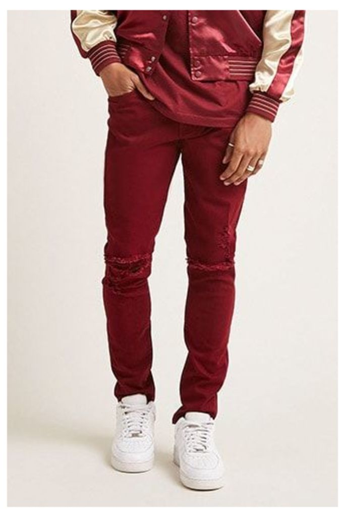 Ripped Knee Slim-Fit Trousers