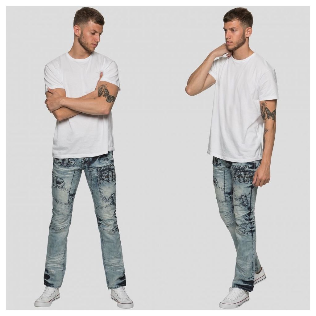 ETO Jeans Mens Straight Fit Funky Light Stonewash Blue Jeans EM583 LSW