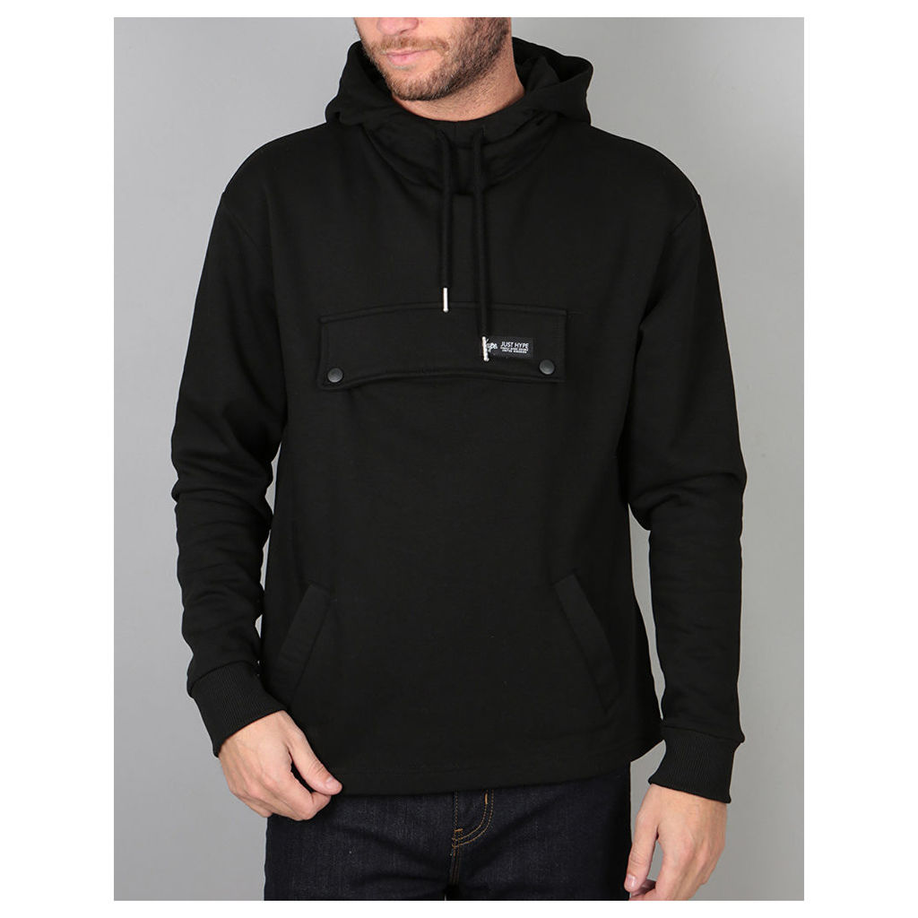 Hype Boxy Pullover Hoodie - Black (X Small)