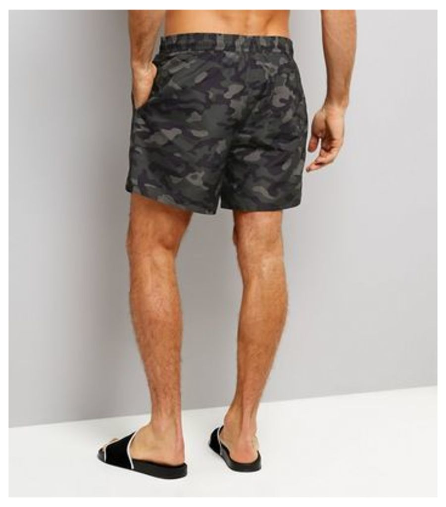 Green Camo Print Swimming Shorts New Look