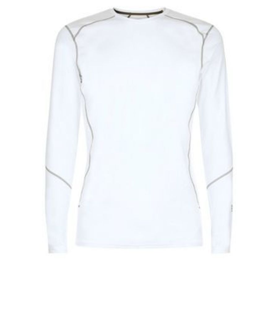 White Long Sleeve Sports T-Shirt New Look