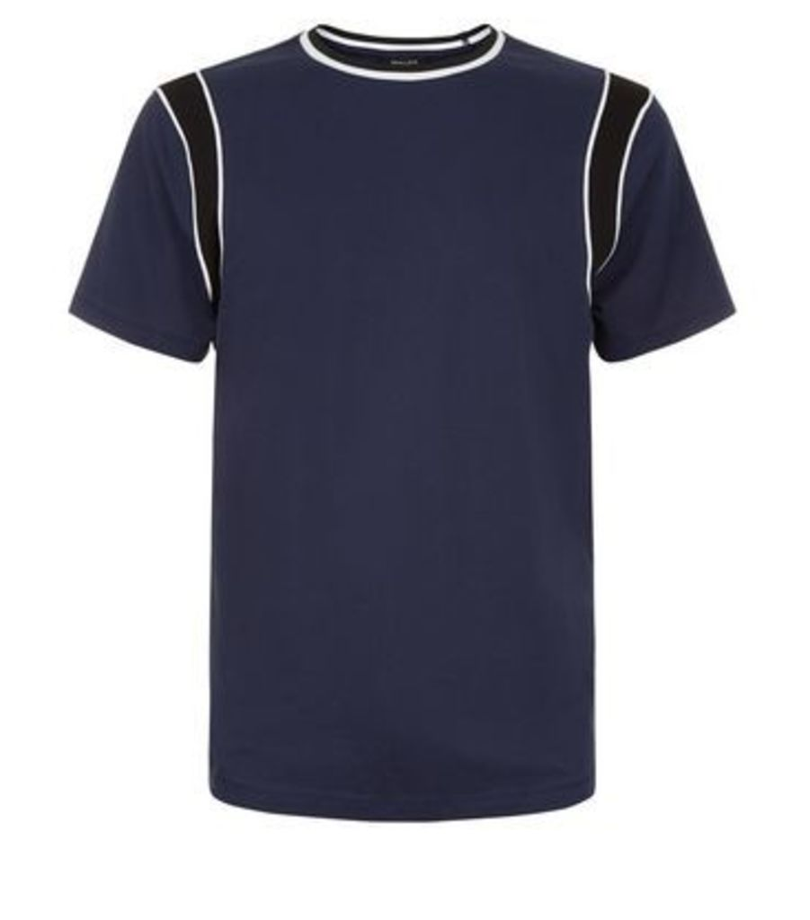 Navy Colour Block Panelled Sleeve T-Shirt New Look
