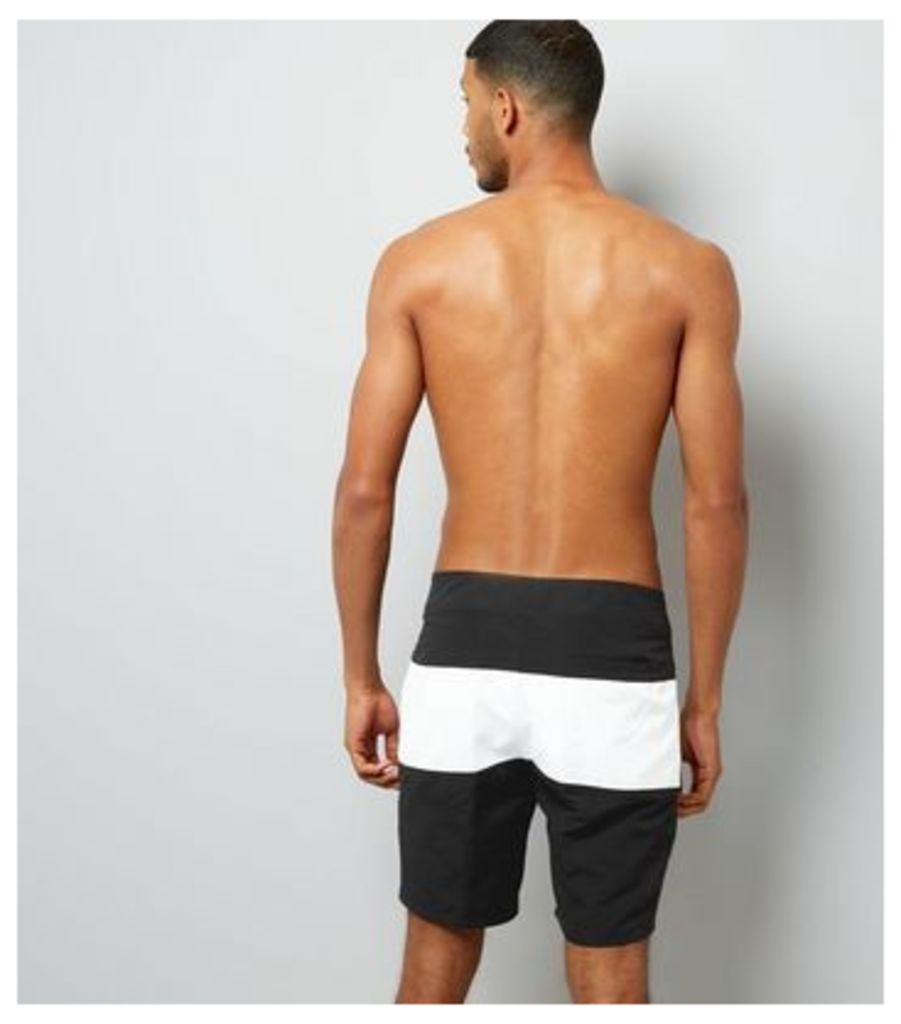 Black Colour Block Board Shorts New Look