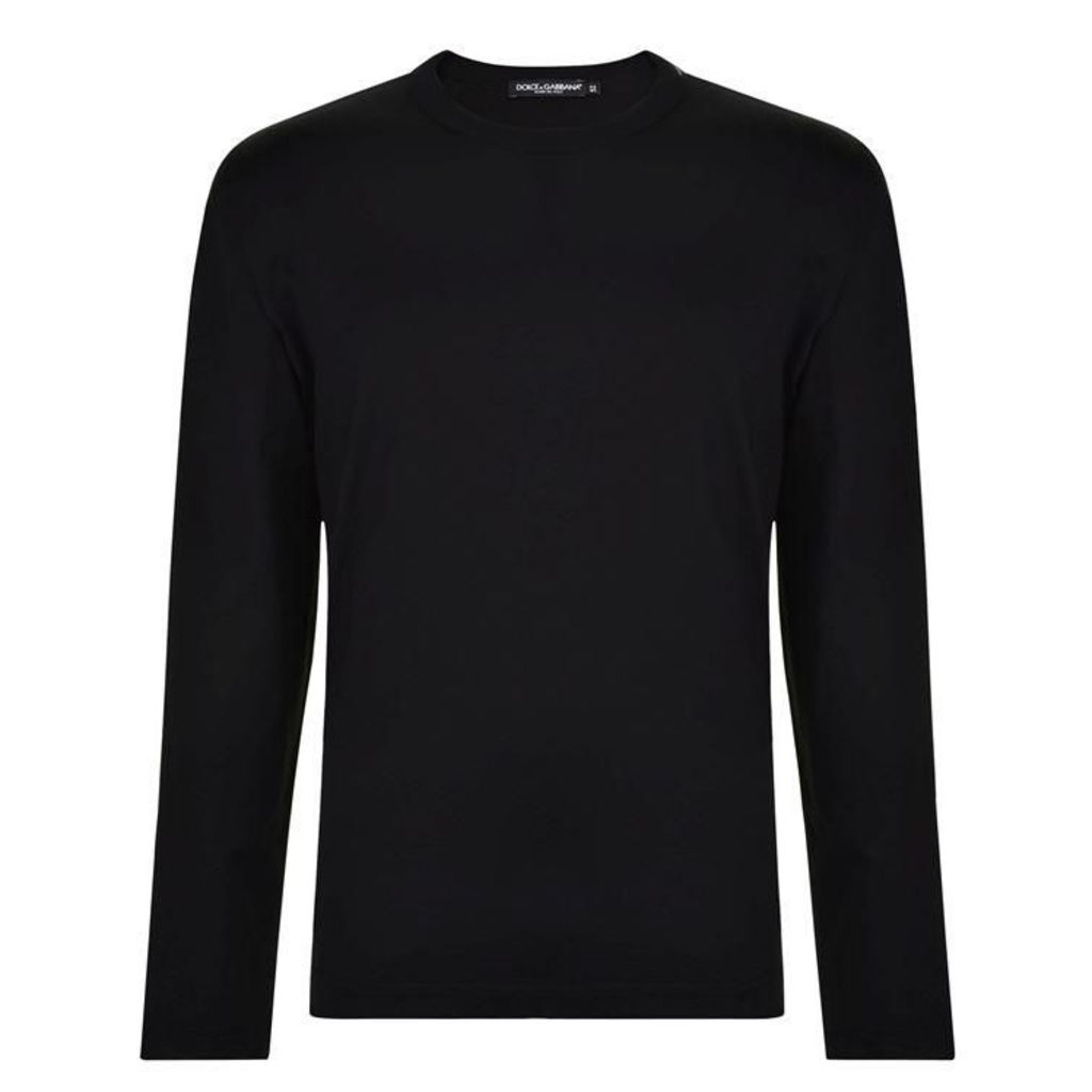 DOLCE AND GABBANA Tab Neck Long Sleeve T Shirt