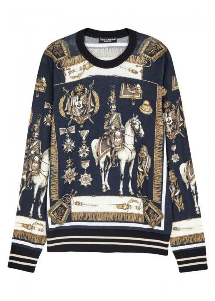 Dolce & Gabbana Heraldic-print Cashmere Blend Sweatshirt - Size 42