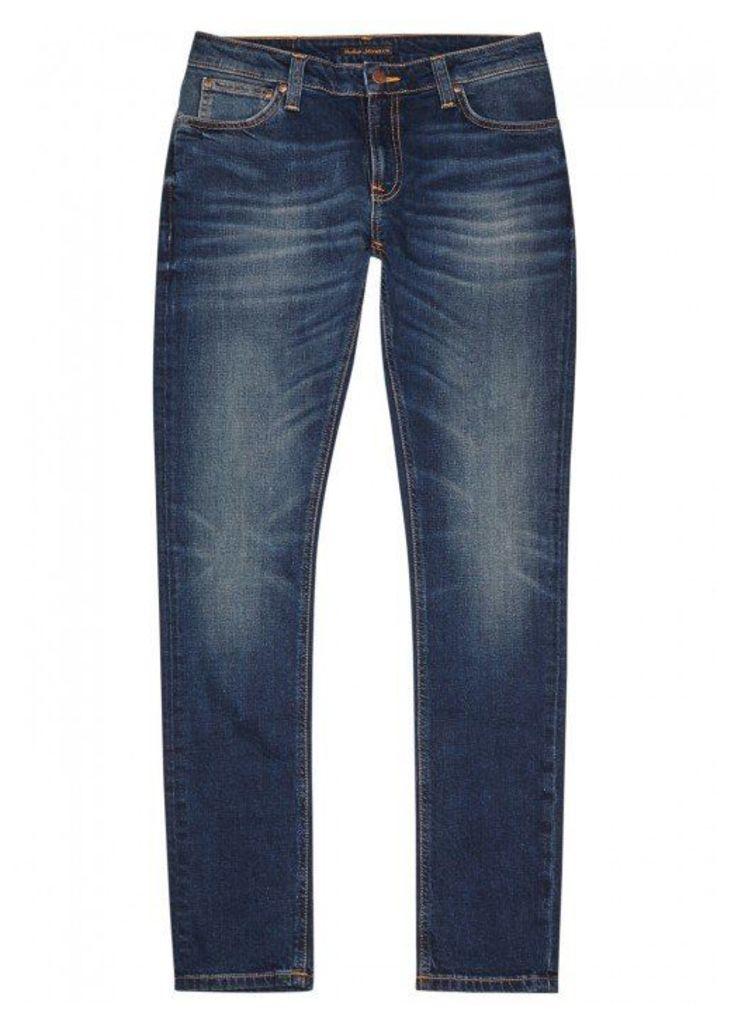 Nudie Jeans Skinny Lin Indigo Faded Jeans - Size W30/L32
