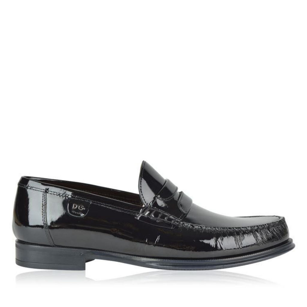 DOLCE AND GABBANA Patent Leather Penny Loafers