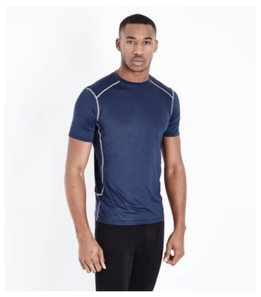 Navy Stretch Short Sleeve Sports T-Shirt New Look