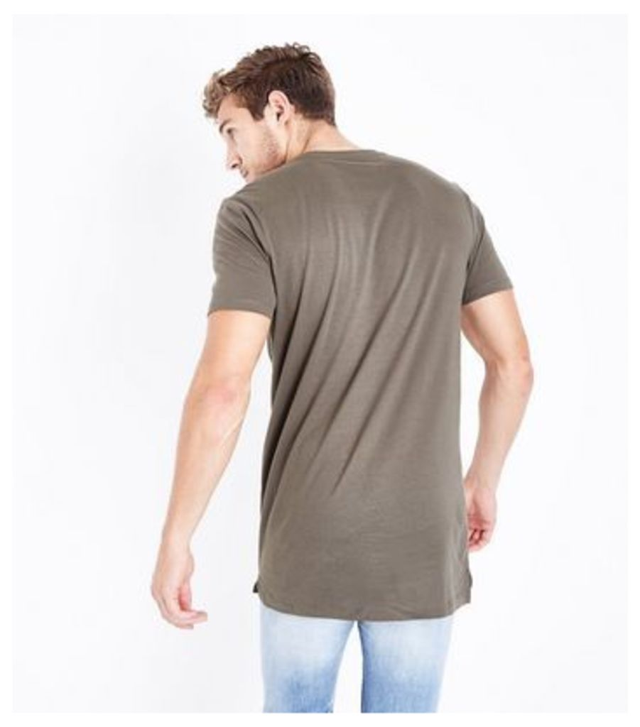 Khaki Longline T-Shirt New Look