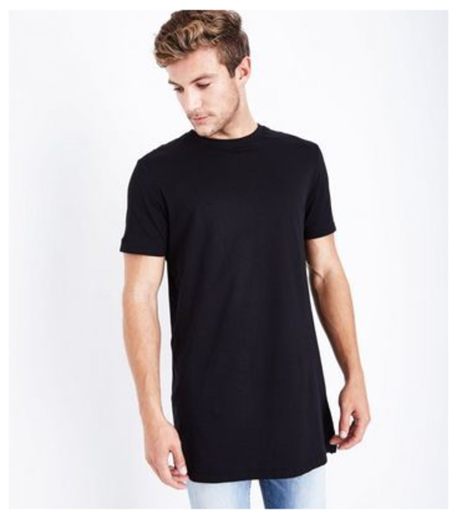 Black Longline T-Shirt New Look