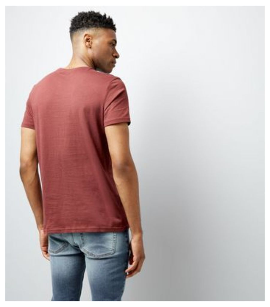 Dark Red Crew Neck T-Shirt New Look