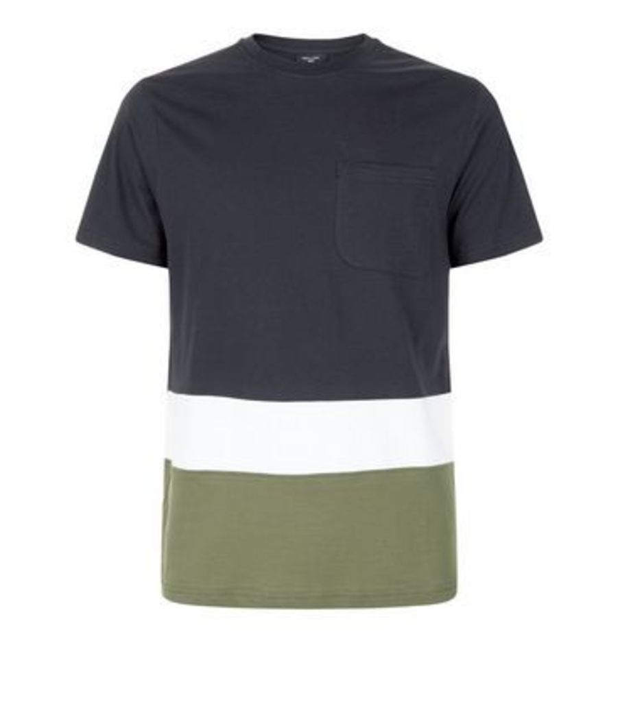Navy Colour Block T-Shirt New Look