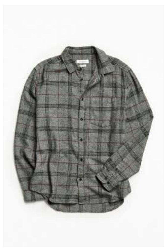 UO Charcoal Plaid Flannel Button-Down Shirt, Dark Grey