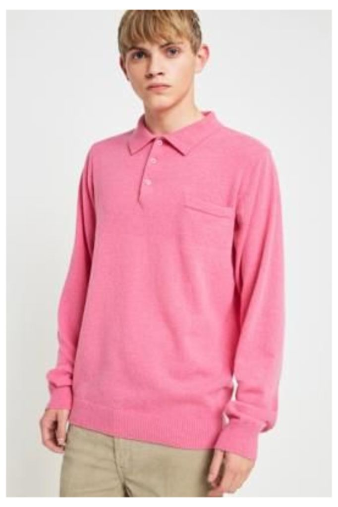Soulland Pink Long-Sleeve Knitted Polo Shirt, Pink