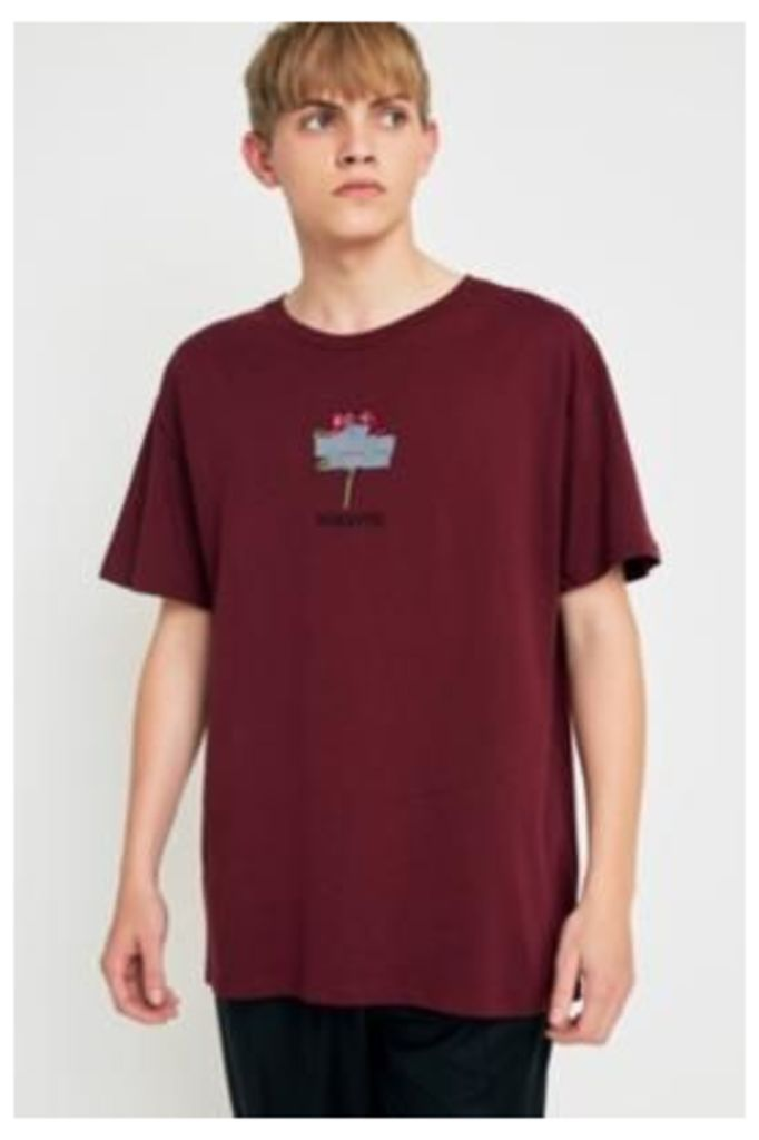 UO Romantic Embroidered Burgundy T-shirt, Maroon