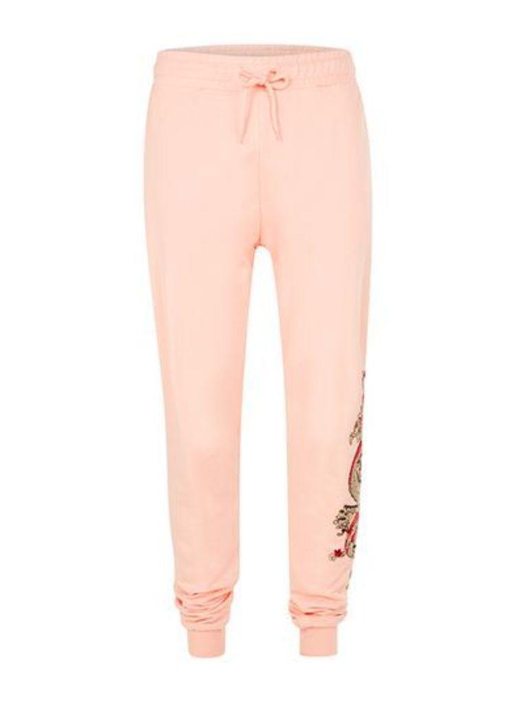Mens Grey CRIMINAL DAMAGE Pink Embroidered Dragon Slim Joggers*, Grey