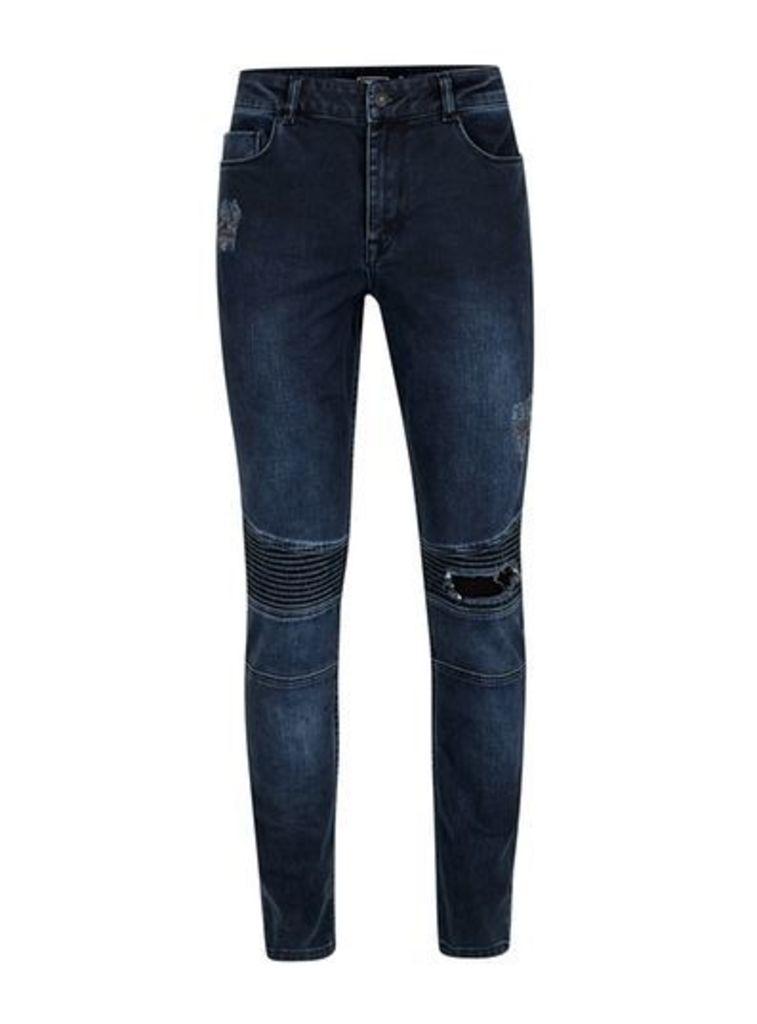 Mens ANTIOCH Dark Blue Distressed Stretch Skinny Jeans*, Blue