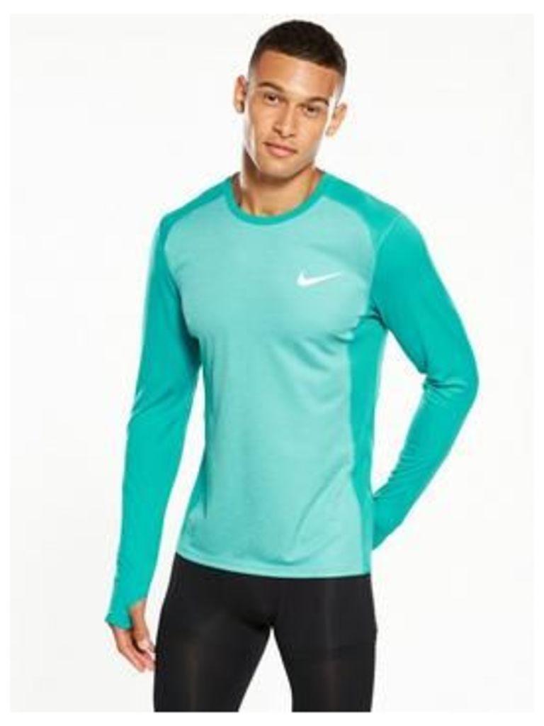 Nike Dry Miler Long Sleeve Top, Aqua, Size 2Xl, Men
