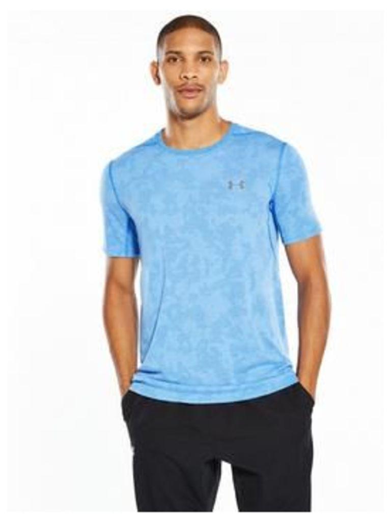 UNDER ARMOUR Threadborne Elite T-Shirt, Mako Blue, Size S, Men