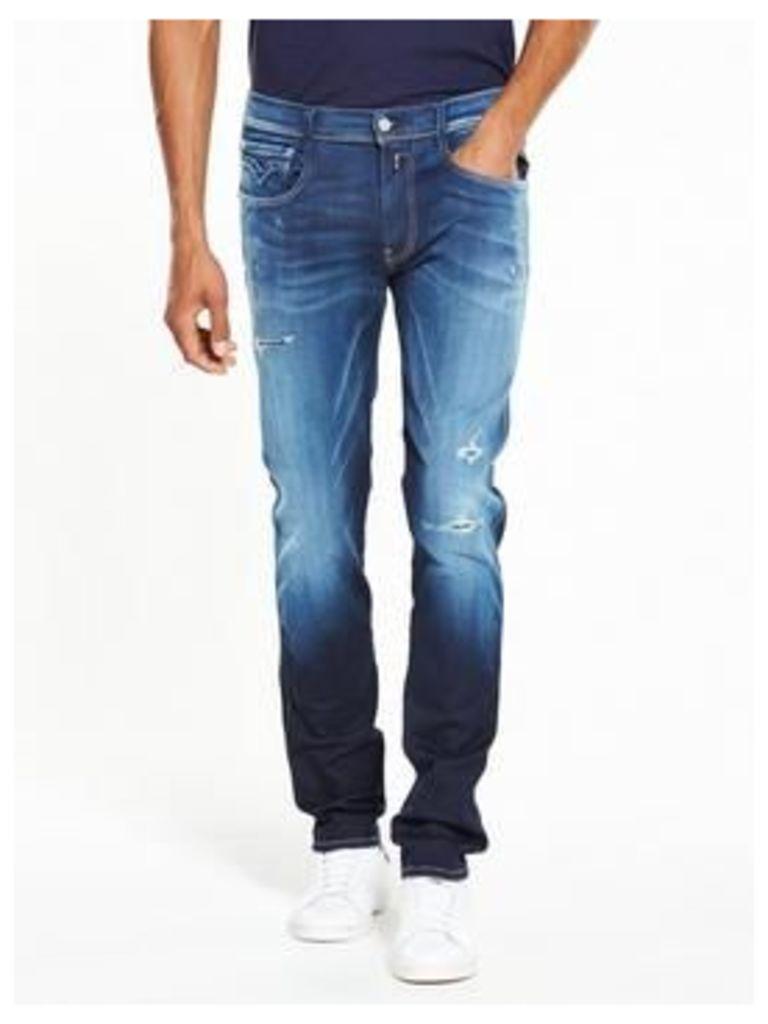 Replay Hyperflex Anbass Rip And Repair Slim Fit Jeans, Dark Wash, Size 36, Length Regular, Men