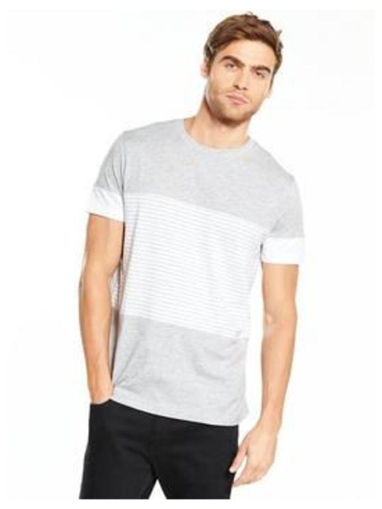 V by Very Short Sleev Panel Print Tee, Grey/White, Size Xs, Men