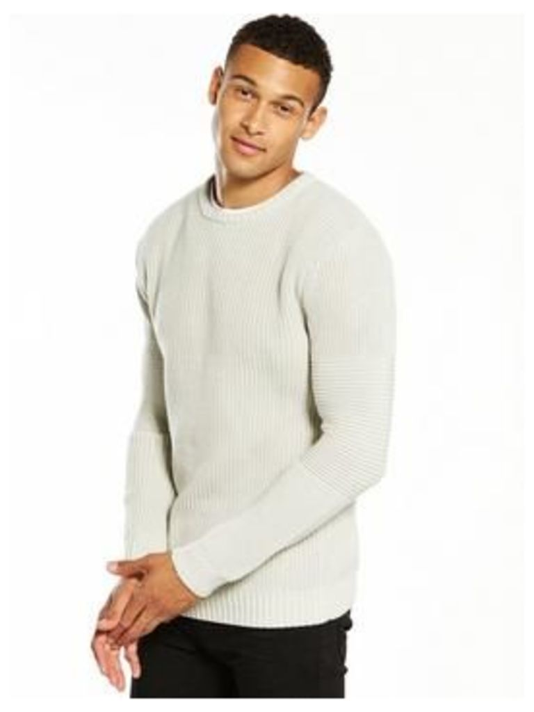V by Very Rib Textured Knitted Jumper, Stone, Size Xs, Men