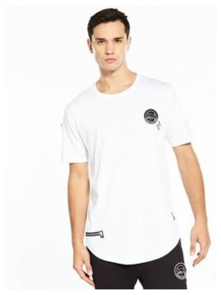 ONLY & SONS Only And Sons Dip Dye Badge Tee, White, Size S, Men
