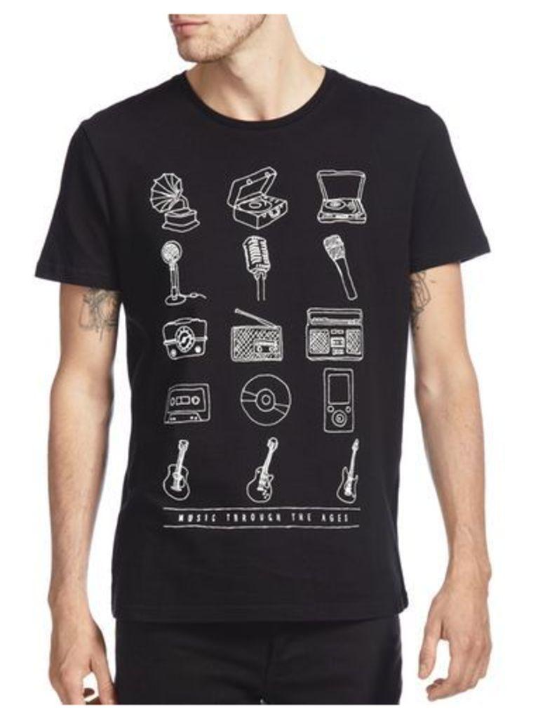 Mens Black Music Through The Ages Print T-Shirt, Black