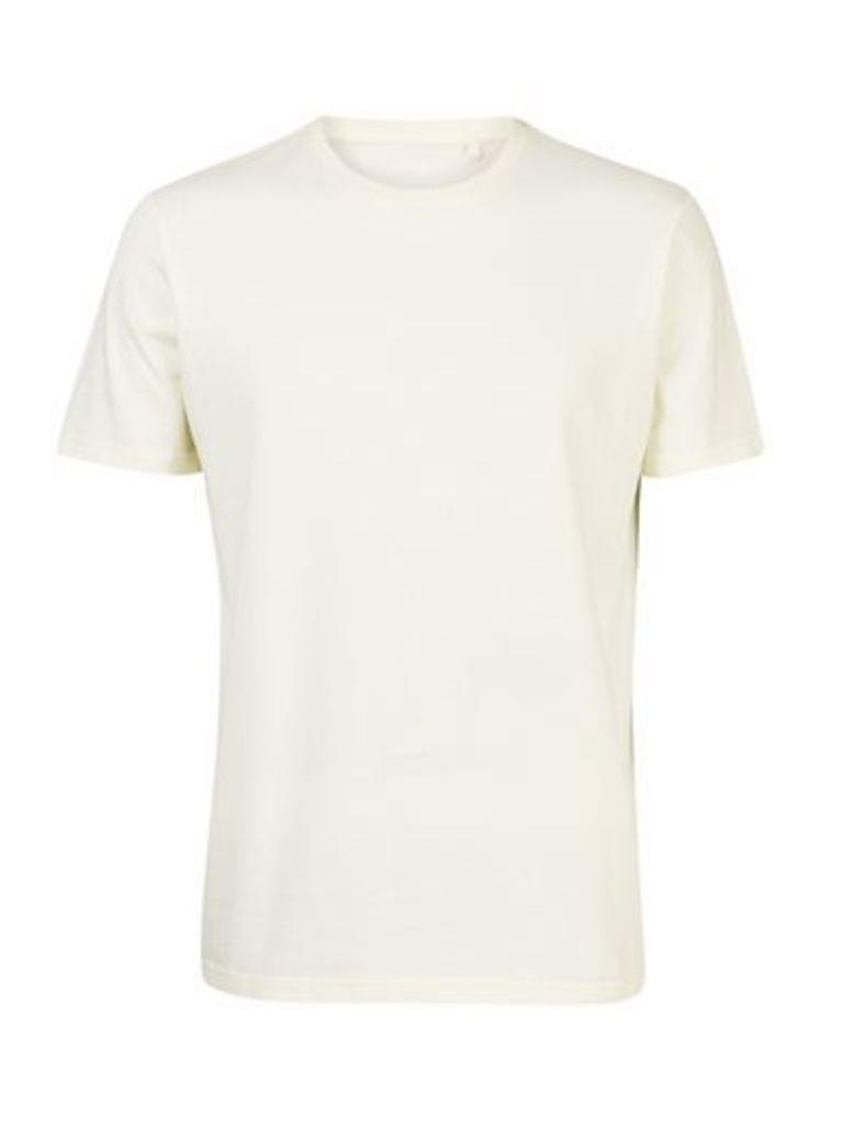 Mens Pastel Yellow Crew Neck T-Shirt, MID GREEN