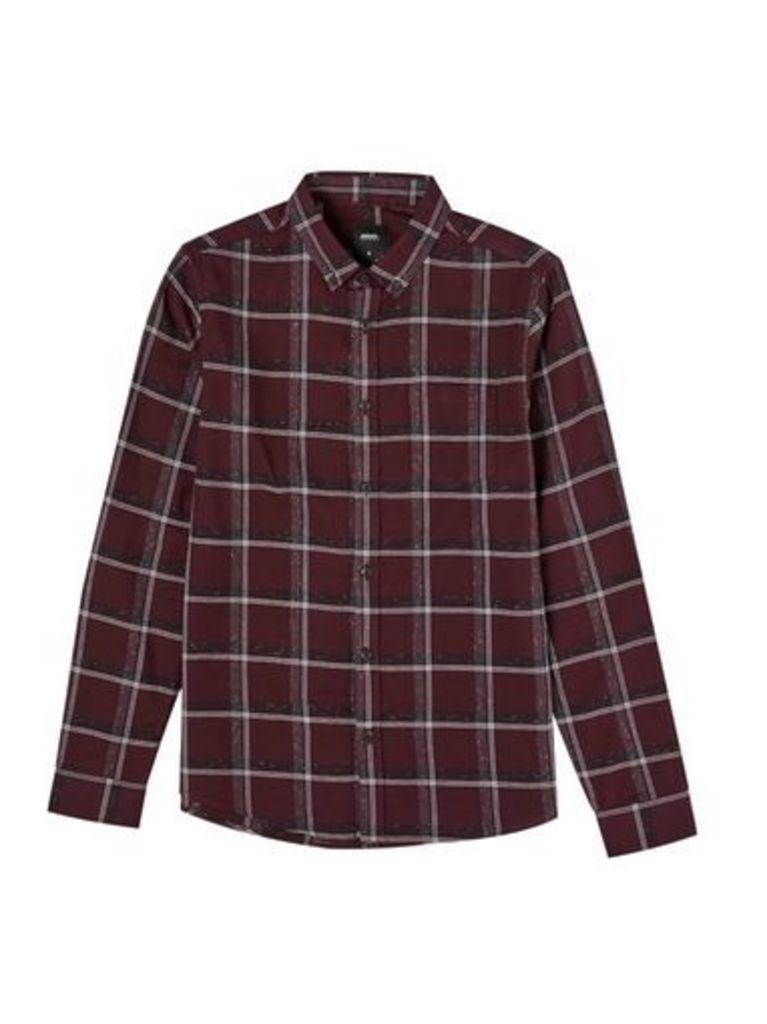 Mens Burgundy Long Sleeve Nepp Checked Shirt, BURGUNDY