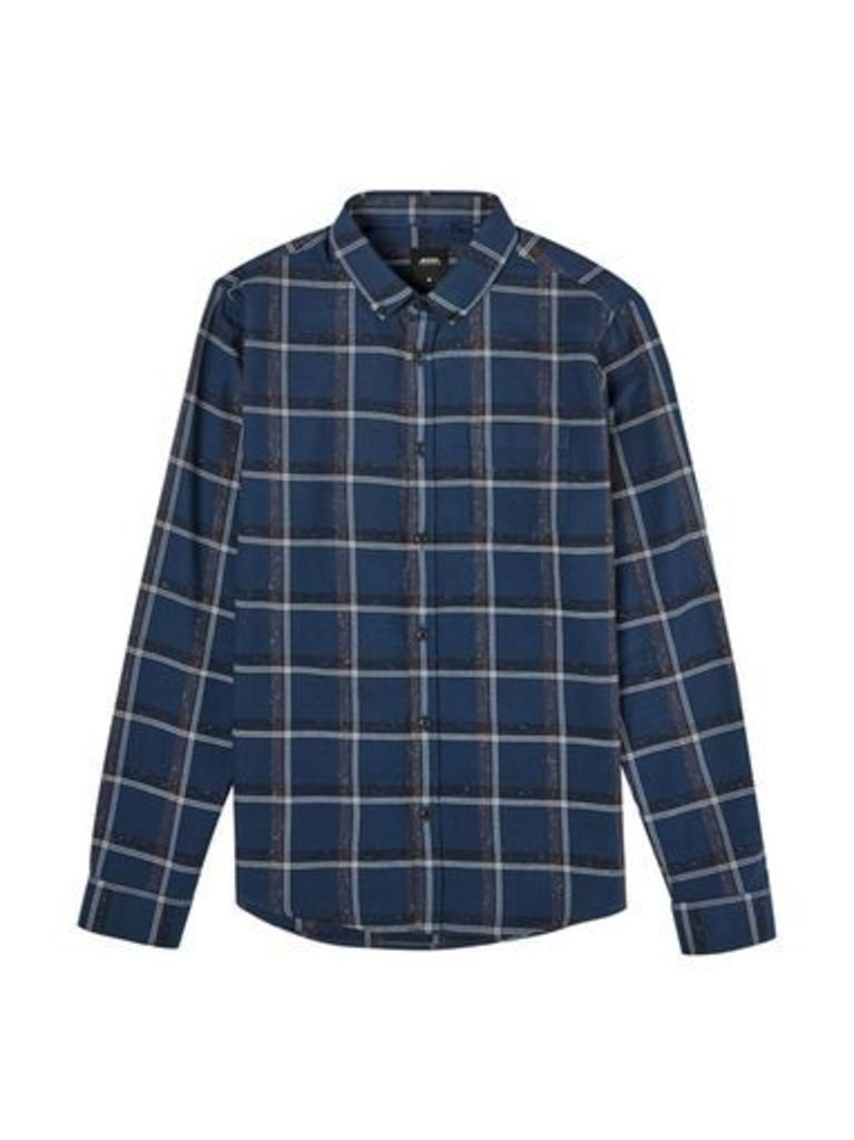 Mens Blue Long Sleeve Nepp Checked Shirt, MID BLUE