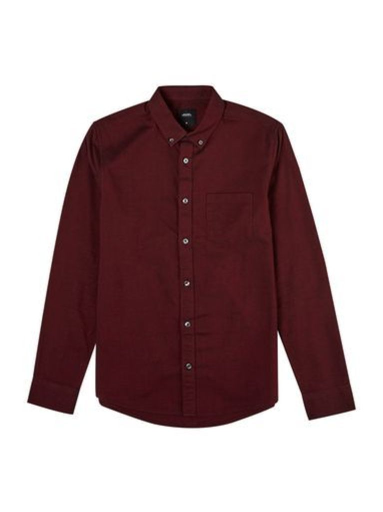 Mens Red Long Sleeve Oxford Shirt, RED