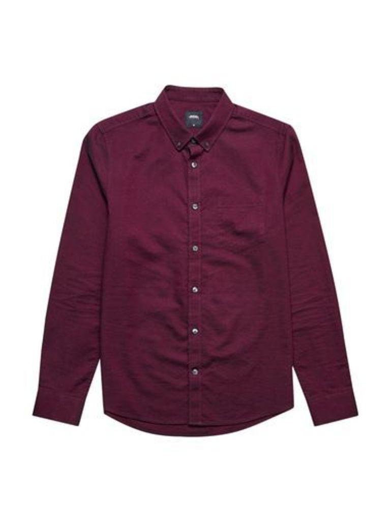 Mens Magenta Long Sleeve Oxford Shirt, PINK