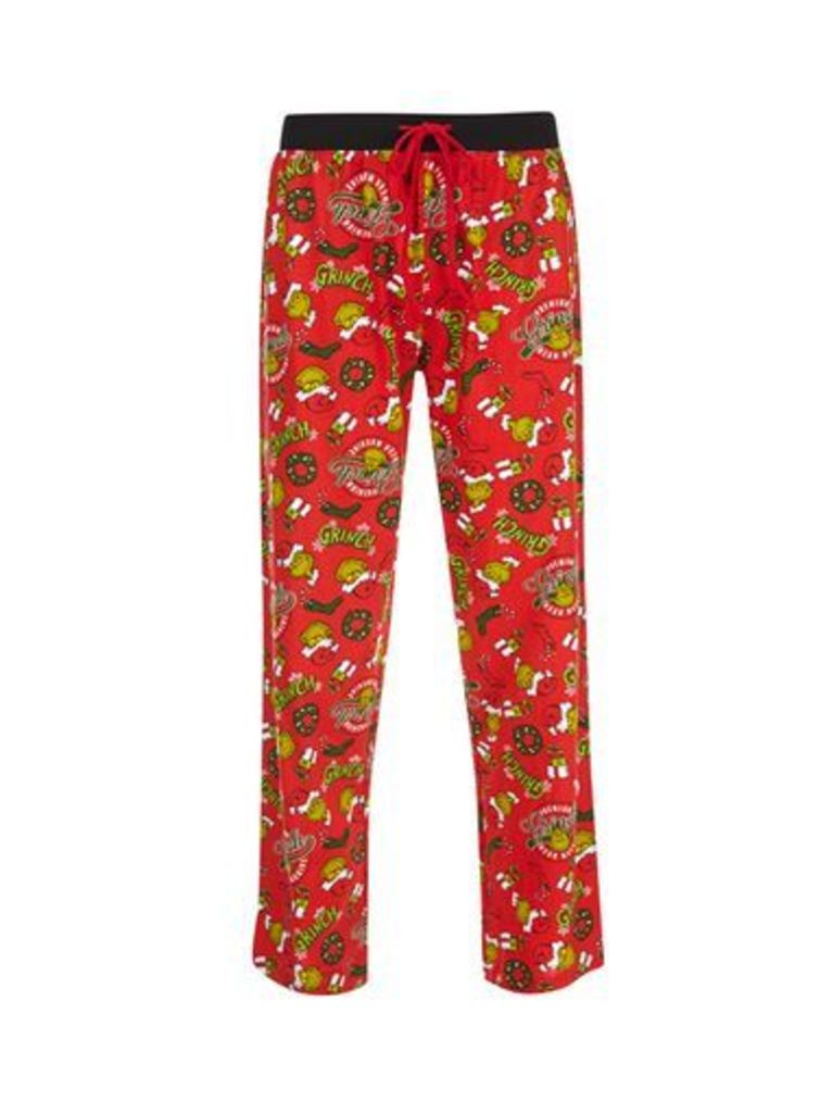 Mens Red The Grinch Print Pyjamas, RED