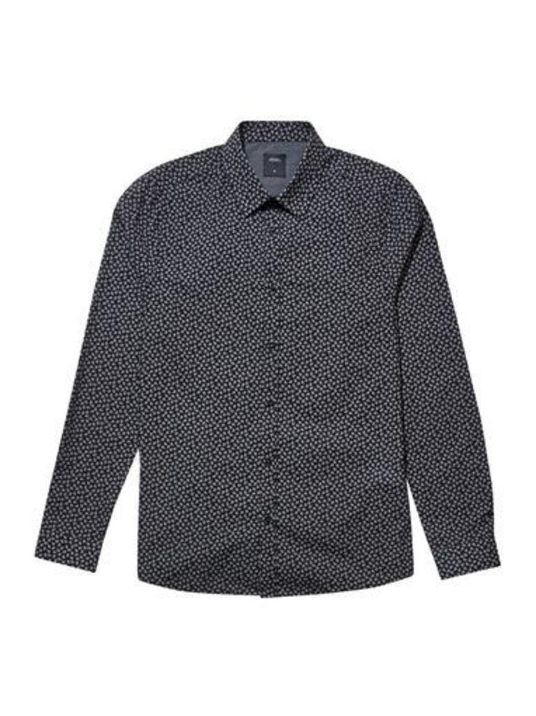 Mens Black Long Sleeve Paisley Print Shirt, Black