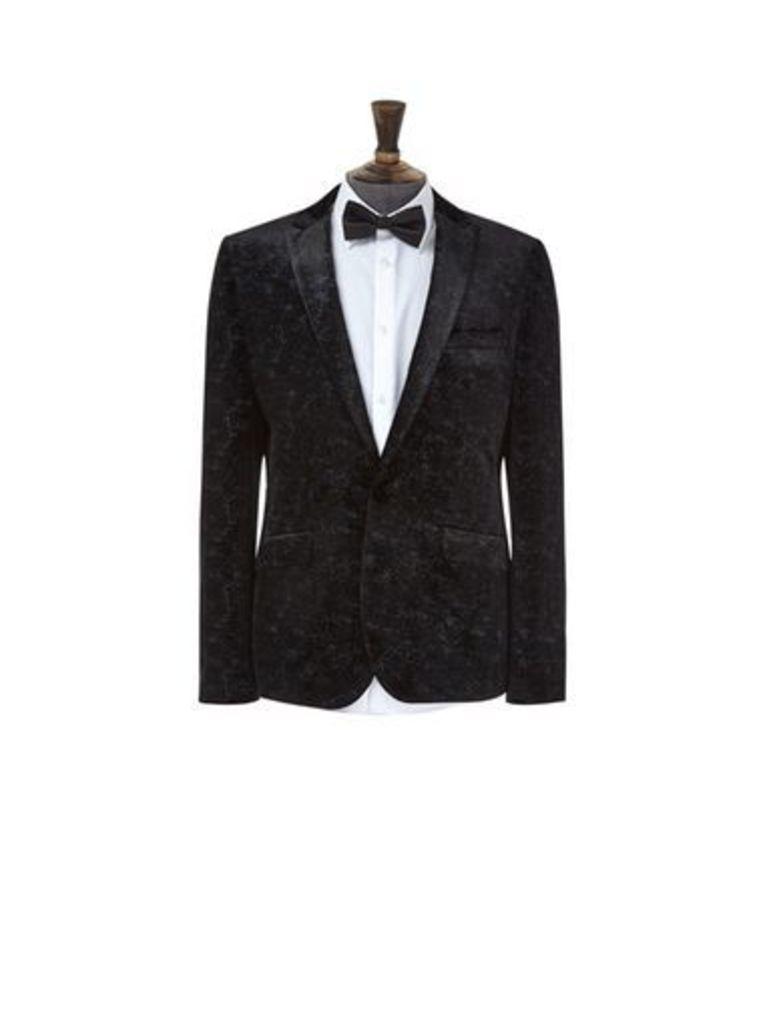 Mens Black Speckled Velvet Blazer, Black