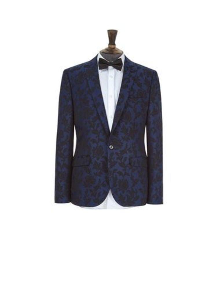 Mens Cobalt Floral Stretch Blazer, Blue