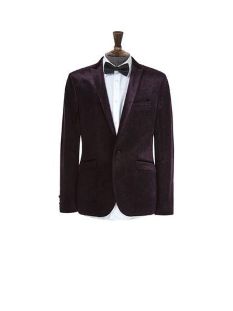 Mens Deep Purple Printed Velvet Blazer, Purple