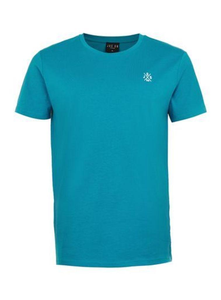 Mens Green JOG ON Turquoise Organic Cotton T-Shirt*, Green