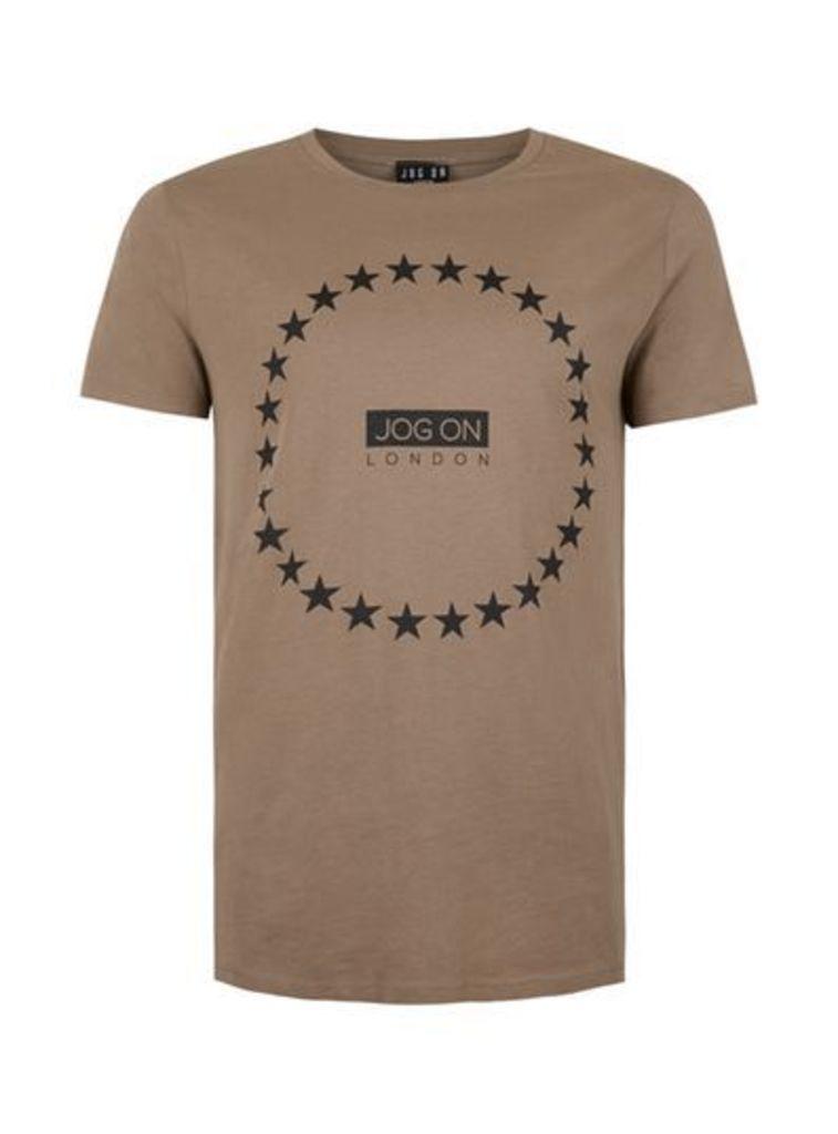 Mens JOG ON Brown Organic Cotton T-Shirt*, Brown