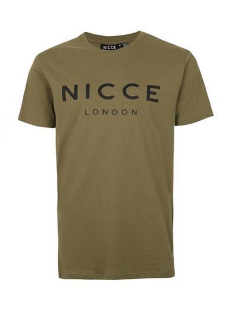 Mens Green NICCE Khaki Chest Logo T-Shirt, Green