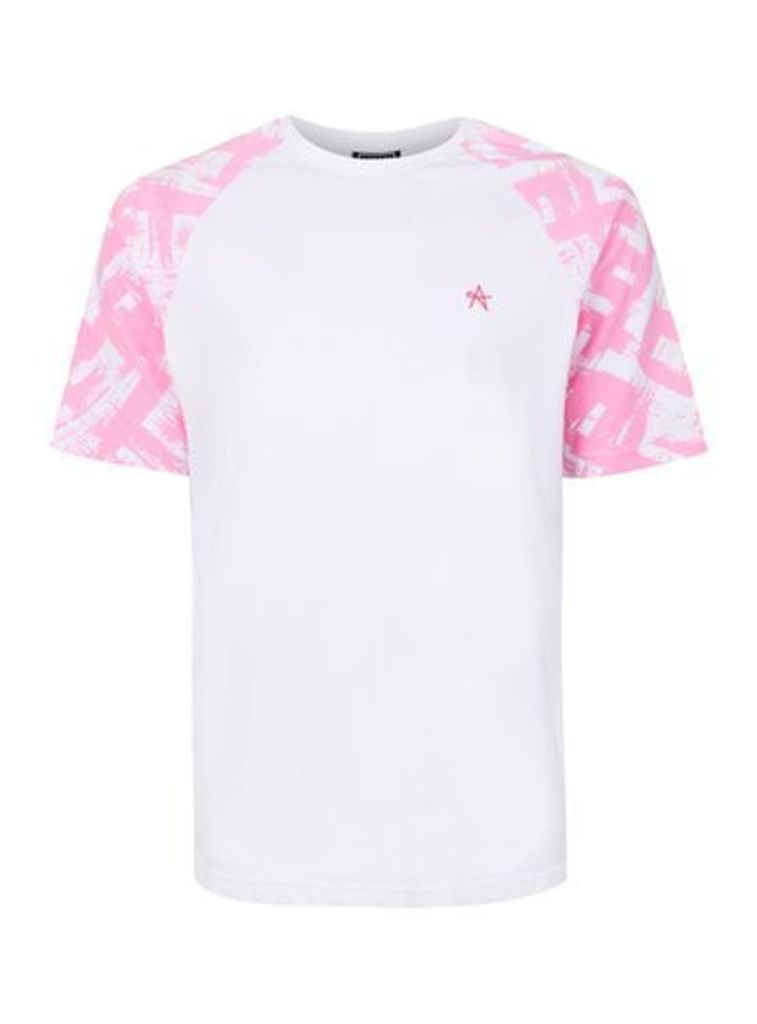 Mens ANTIOCH White And Pink Paint Stroke Sleeve T-Shirt*, Pink