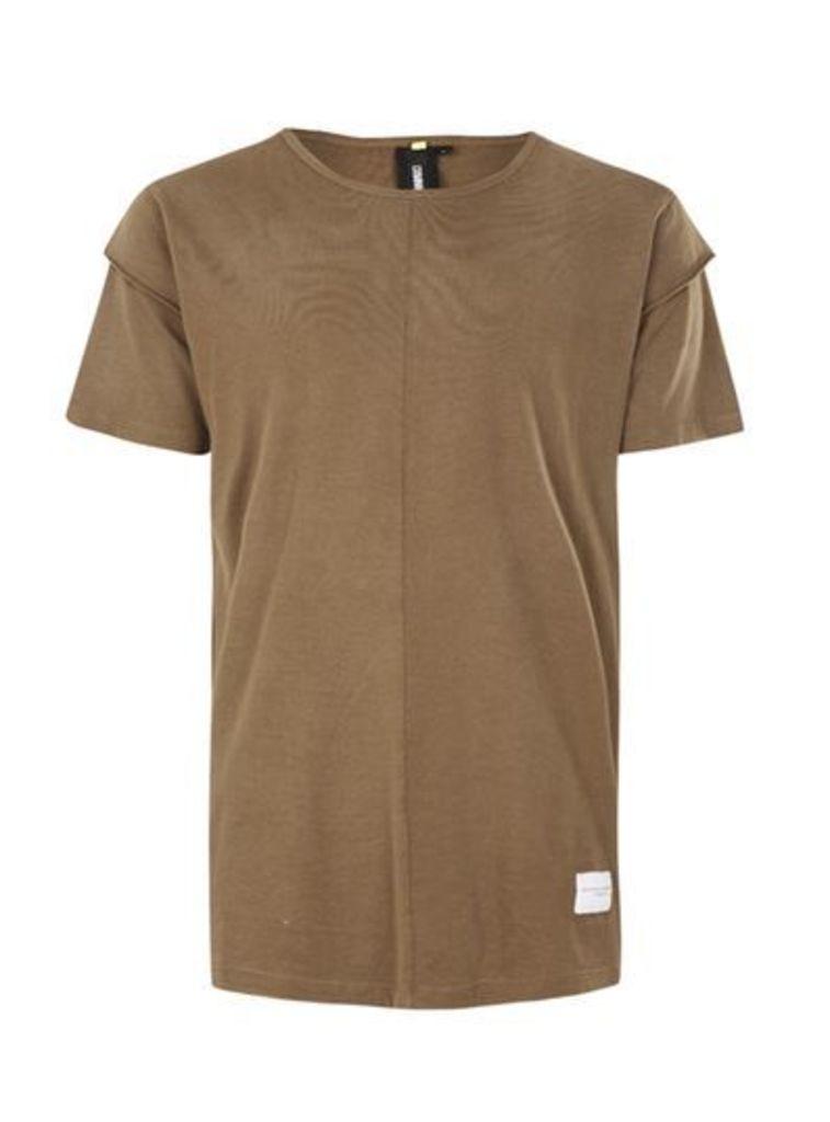 Mens Grey CRIMINAL DAMAGE Khaki Layered Sleeve T-Shirt*, Grey
