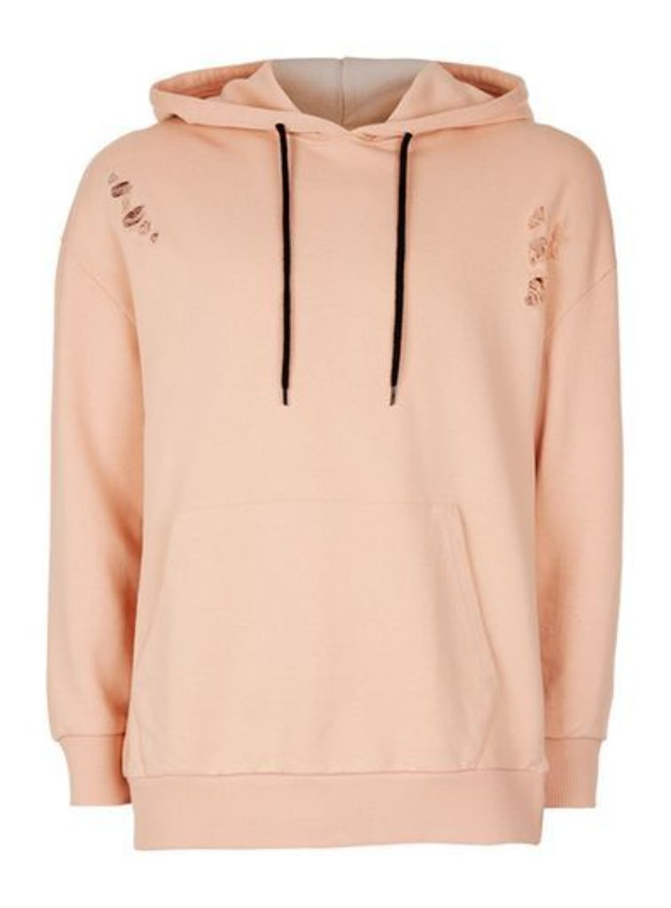 Mens ANTIOCH Pink Distressed Oversized Hoodie*, Pink