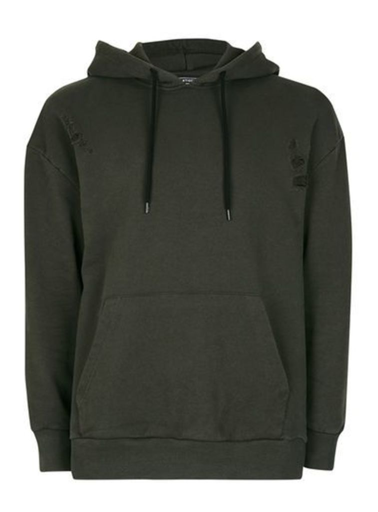 Mens Green ANTIOCH Khaki Distressed Oversized Fit Hoodie*, Green