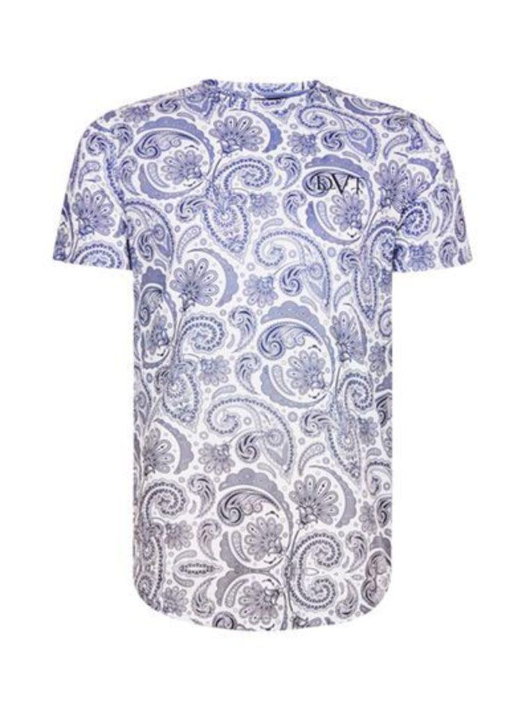 Mens Blue DEVOTE Faded Paisley Print T-Shirt*, Blue