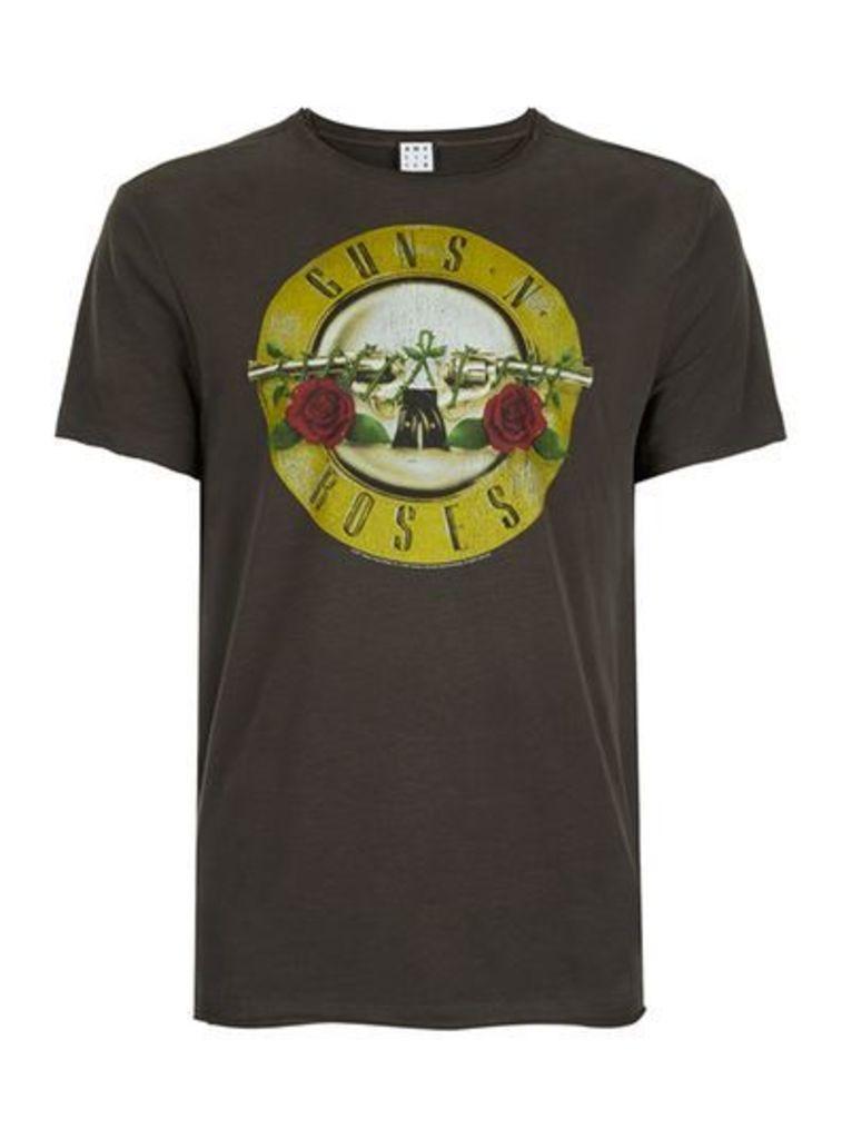 Mens AMPLIFIED Washed Grey Guns N' Roses T-Shirt*, Grey