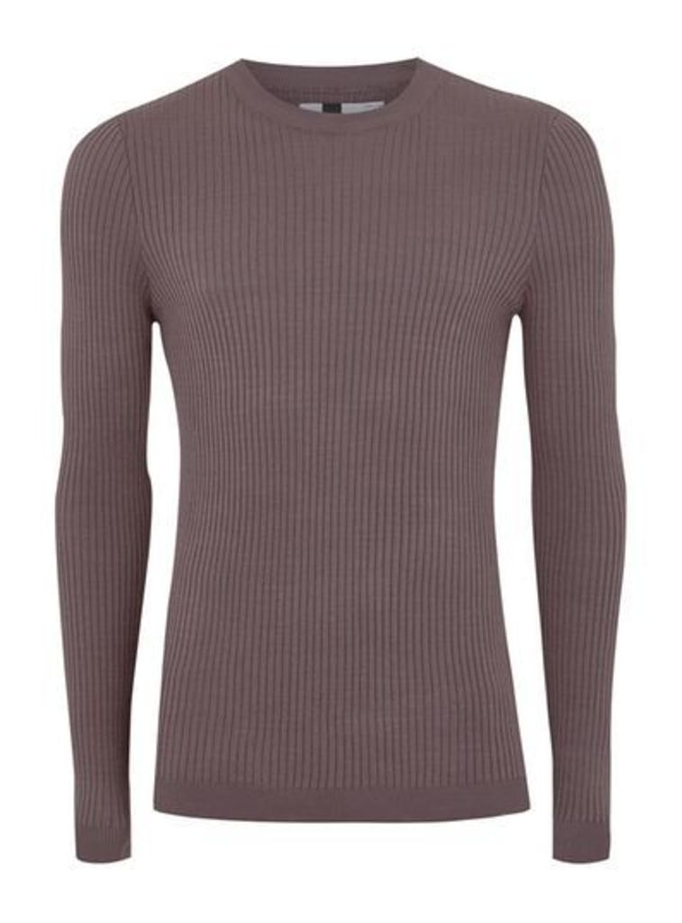Mens Washed Purple Muscle Fit Ribbed Jumper, Purple