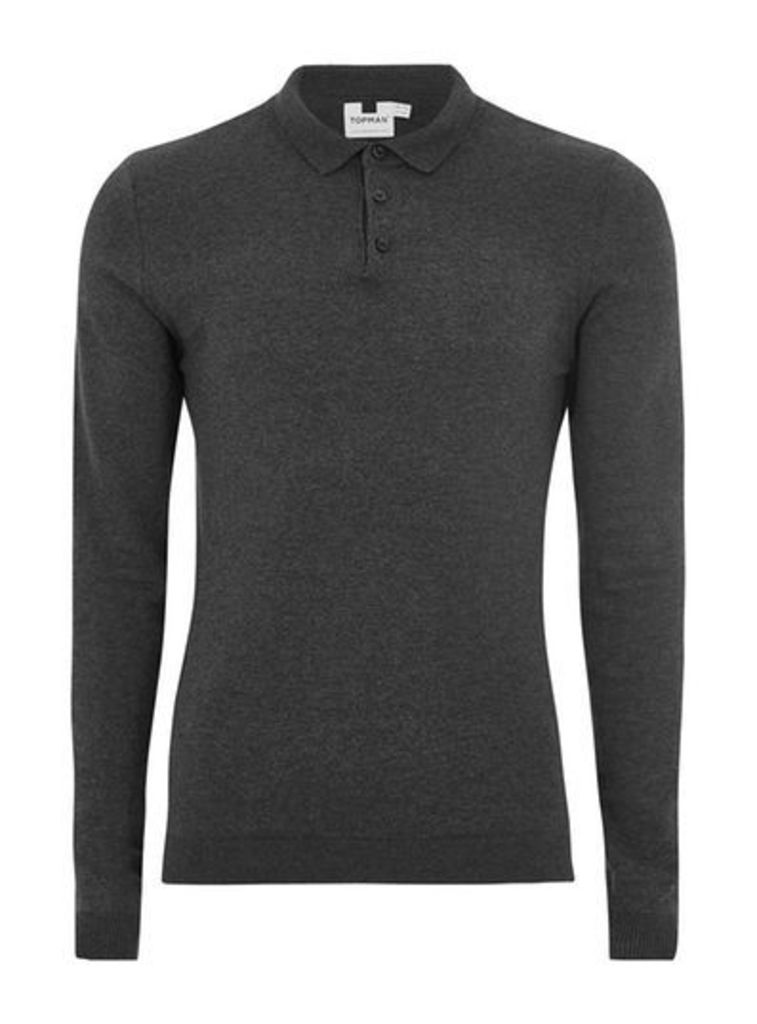 Mens Charcoal Grey Muscle Fit Knitted Polo Jumper, Grey