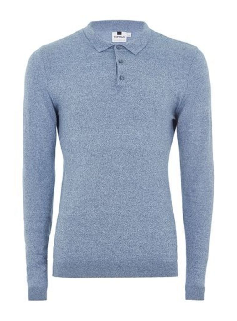 Mens Blue and White Muscle Fit Knitted Polo, Blue